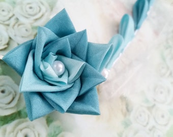 Teal Rose Silk Kanzashi Flower Hair Clip