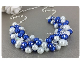 Royal Blue and White Cluster Necklace Pearl Cluster Necklace Bridesmaid Jewelry Bridesmaid Gift Royal Blue Jewelry