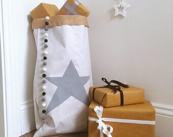 Personalised Star Toy Sack - Monochrome Toy Storage Bag - Gender Neutral Toy Storage - Personalised Toy Storage - Star Nursery Storage