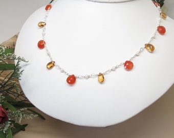 Carnelian Citrine Pearls Necklace, Orange Green Gemstone Necklace In Sterling Silver, 17-19.75 Inches Length, Elegant Necklace, AAA Quality