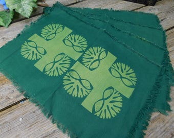 Set of 4 Vintage Mid Century Modern Linen Placemats - New Old Stock