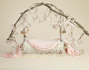 digital backdrop  background newborn baby girl bed peach cherry blossoms
