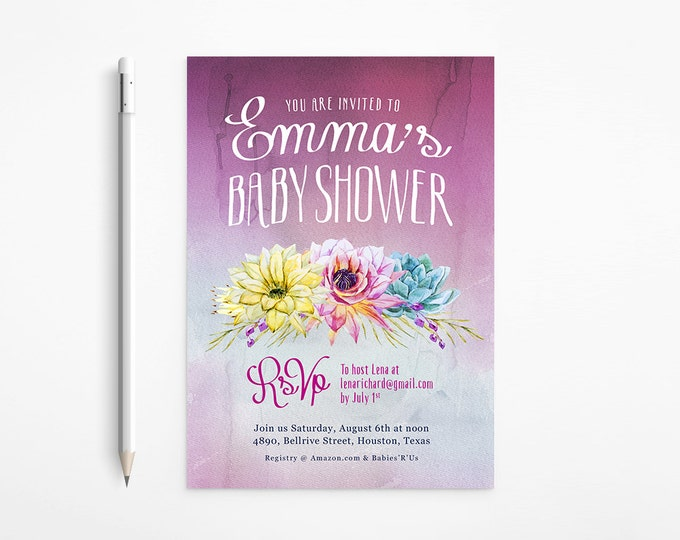 PRINTABLE - Boho Ombré Baby Girl Shower Invitation - Watercolor - Exotic - Flowers - Succulents - Plants - Pink - Purple - Free changes