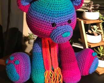 Large Rainbow Teddy Bear Amigurumi