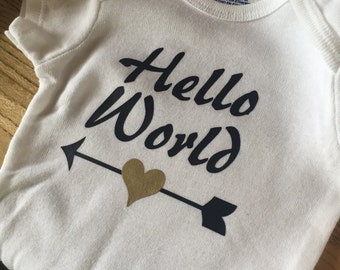 Hello world;  Onsie;  baby bodysuit; infant; baby; arrow;