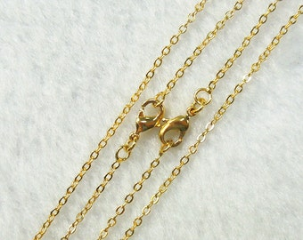 """18-24"""" Gold Plated Cable Chains With Losbter Clasp -- Wholesale Bulk Sale Handmade Craft Supply Gold Plated Accessory Charm DJ"""