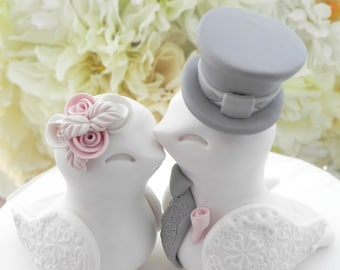 Love Bird Wedding Cake Topper White Dusty Pink Grey Bride Groom Keepsake Handmade Personalized Gift  Rustic Shabby Vintage You Choose Color