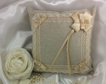 Hand-sewn wedding pillow with satin and beads