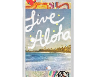 NEW iPhone 7/7+ Case,  Live Aloha, Best Seller, Hawaii, Aloha, Beach, Palms, Vacation, Tropical, Art, Avail. with Black or White case color