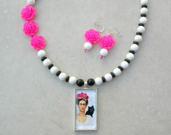 Frida Kahlo in Roses with her Black Cat, Fused Glass Pendant, Hot Pink Roses, optional white necklace, Necklace Set by SandraDesigns