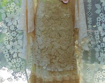Lace crochet  dress wedding tea stained beige nude   romantic boho outdoor fairytale medium by vintage opulence on Etsy