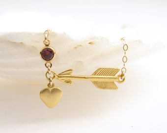 July Birthday ~ Golden Heart and Arrow with Ruby CZ Necklace ~ Matte Gold Vermeil Charm ~ 14K GF Necklace ~ Mother's Day