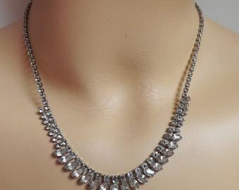Vintage rhinestone fringe necklace clear crystal bridal wedding jewelry stocking stuffer gift for women