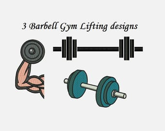 Barbell Embroidery Design - 2 sizes Instant download - Dumbbells Weights lifting GYM workout