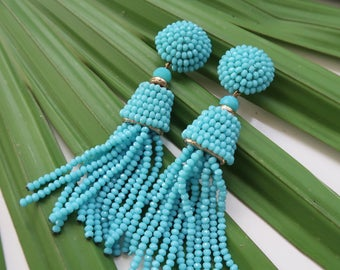 "The Captiva - 3.5"" Turquoise Beaded Tassel Earrings by St. Armands Designs - Ships Immediately from Sunny Florida!"