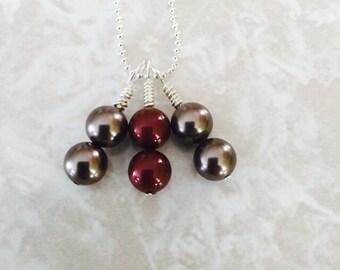 Red and Smoky Swarovski Pearl Necklace