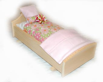 Rock Her to Sleep!  Single Doll Bed - Daisy Delight American Made Girl Doll Bed - Fits AG Doll and 18inch doll BittyBaby 18' Doll Furniture