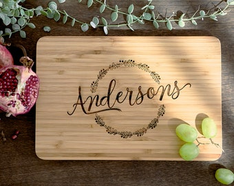 Personalized Cutting Board Wedding Gift, Monogram Custom, Engagement Gift, Anniversary Gift, Engraved Wooden Chopping Block,Kitchen Decor 19