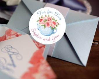 Tea for Two Stickers, Custom Birthday Labels - Round Tea labels - Tea Cup Stickers - Birthday Tea Cup Candy Stickers