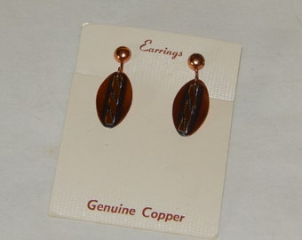 Vintage Copper Clip On Earrings, New on Card