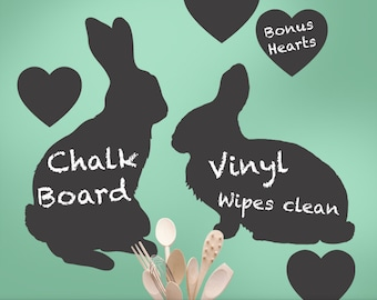 Bunny Rabbit Chalkboard Wall Decal with Hearts | Nature Decor | Vinyl Wall Decal | Kids Playroom Decor | Boys, Girls, Teens, Toddler