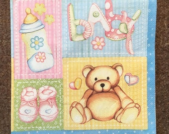 PN-215 Paper Napkins for Decoupage Napkins for Art Luxury Napkins Paper Napkin Designs Decoupage for Baby Welcome Baby