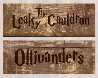 Harry Potter Printable Location Signs  |  Wizarding World Party Decorations  |  Digital Download  |  10.5x3.8""