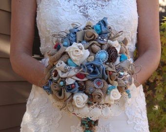 Country Western Bridal Bouquet, fashioned of natural and off white burlap and vintage laces, with accents of tourqouise and coral jewels