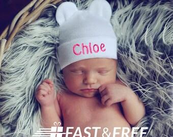 Personalized Newborn Bear Hat, White Hospital Hat, Baby Girl Newborn Hat, Personalized Baby Girl Hat, Newborn hat with Name, White Baby Hat