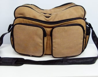 Vintage 1960's /1970s Canvas and Leather Camera Bag / Holdall - With Shoulder Strap - Very Retro!