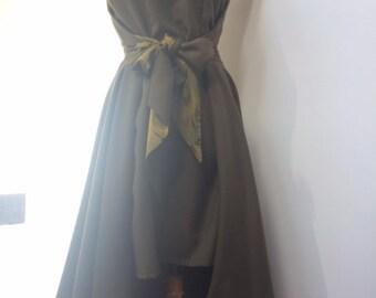 1950's Walkaway dress Khaki wool mix uk size 8 10 12 adjustable wrap faltering waist tie rockabilly pinup