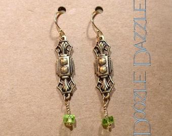 Peridot Art Deco Earrings - Dangle - Downton Abbey Inspired - Gemstone - Great Gatsby