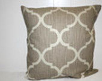 Decorative Lumbar 12x16, 16x16 Richloom Tan and Cream Geometric Throw Pillow Cover