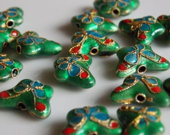 Red Blue Green Butterfly cloisonne metal bead