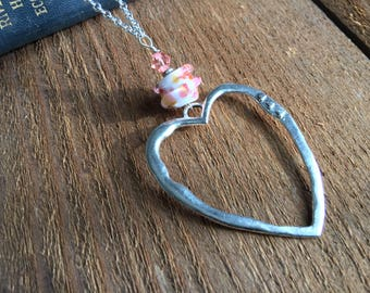 Heart Necklace, Silver Jewelry, Long necklace, Long Chain, No Clasp, Valentines Day, Love Gift