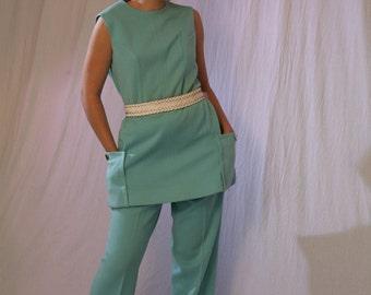 Mod Vintage 60s Pantsuit in Aqua, Small