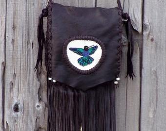 Fringed leather handbag , Beaded hummingbird ,  Handmade leather crossbody bag , Fringed leather purse , Purple and green hummingbird