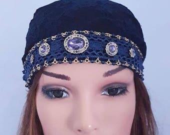 Dark Blue Head Scarf , Tichel,  Blue Hair Covering , Lace Bandana , Head Wrap , Women Hats , Chemo Scarf , Headscarves , Blue Headwear