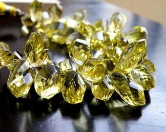 Lemon Quartz Gemstone Briolette Faceted Twist Tear Drop 9 to 11mm 11 beads