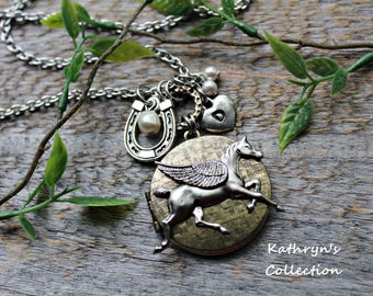 Horse Locket Necklace, Horse Memorial Necklace, Horse Jewelry, Equestrian Jewelry