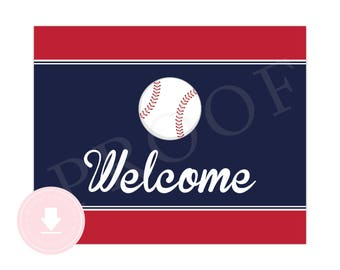 INSTANT DOWNLOAD Baseball Welcome Sign (Baseball Birthday, Baseball Baby Shower, Baseball Party, Sports, Printable Baseball Welcome Sign)
