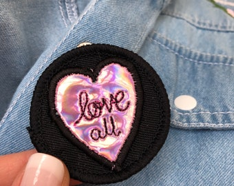 holographic diy patch love all lo fi freemotion embroidery