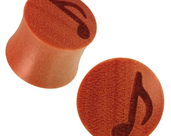 Holzplug Brown notes engraving laser tribal tunnel ear plugs Expander (No. HPT-267)