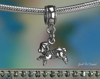 Sterling Silver Lamb Charm or European Style Charm Bracelet .925 Sheep