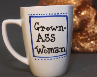 Grown-Ass Woman Mug (blue box)