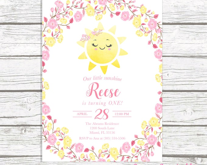 You Are My Sunshine Birthday Invitation Girl, Sunshine Birthday Invitation, Our Little Sunshine, Pink and Yellow Floral First 1st Birthday