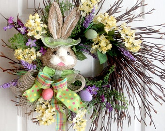 Extra large Easter Wreath, Rabbit Wreath, Spring Wreaths, Easter bunny Decoration, Front door Wreaths, wreath for front door, wreathe,