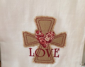 Embroidered Burlap Cross Flour Sack Towels - variety available