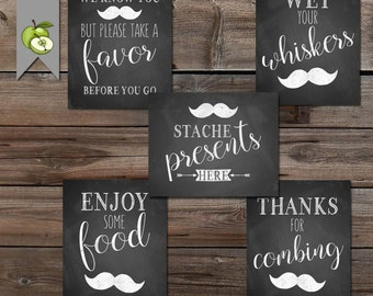 stache Party, Mustache party sign, Baby Shower Table Sign, first birthday, Little Man Party, chalkboard, Boy Baby Shower, favour sign, M98