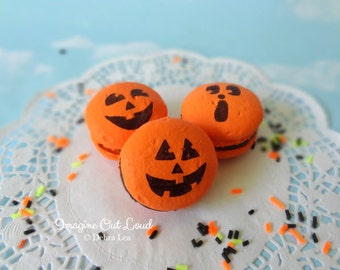 FAUX MACARON Set Pumpkin Orange Artificial Food Prop